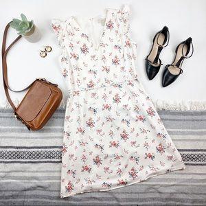 Loft White Floral Dress Tie Waist M